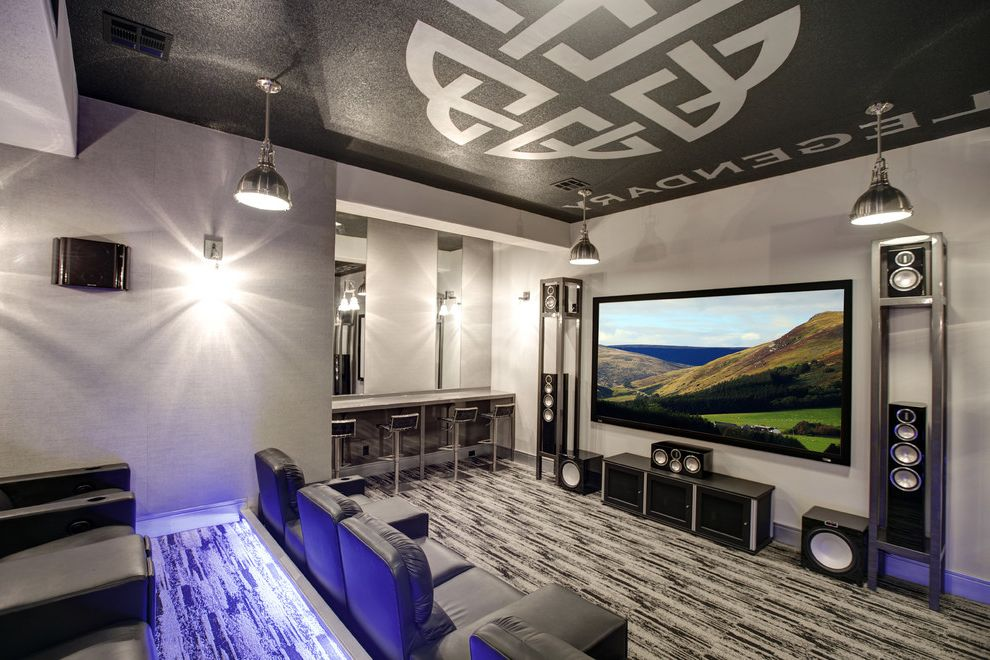 Leawood Theater   Industrial Home Theater  and Contemporary and Transitional Blended Together for a Perfect