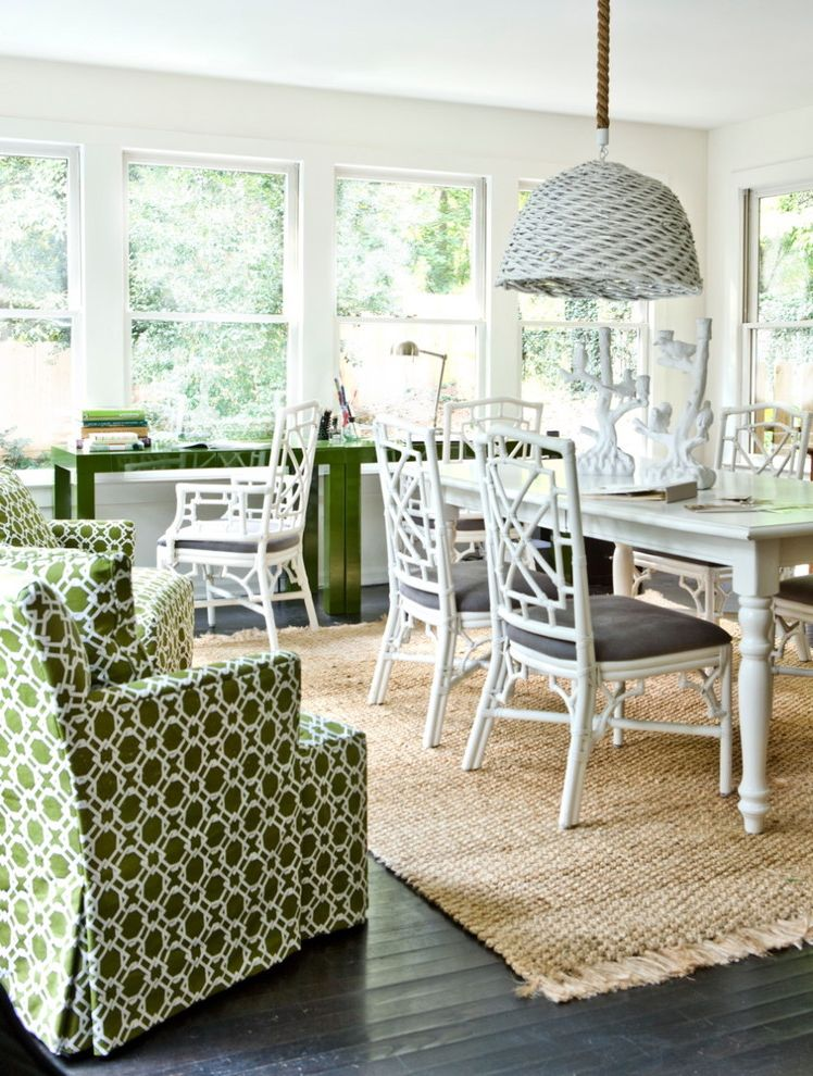 Legendary Upholstery   Beach Style Home Office  and Area Rug Bamboo Dining Chairs Basket Chandelier Dark Floor Fretwork Green Desk Natural Rug Wood Flooring Woven Chandelier