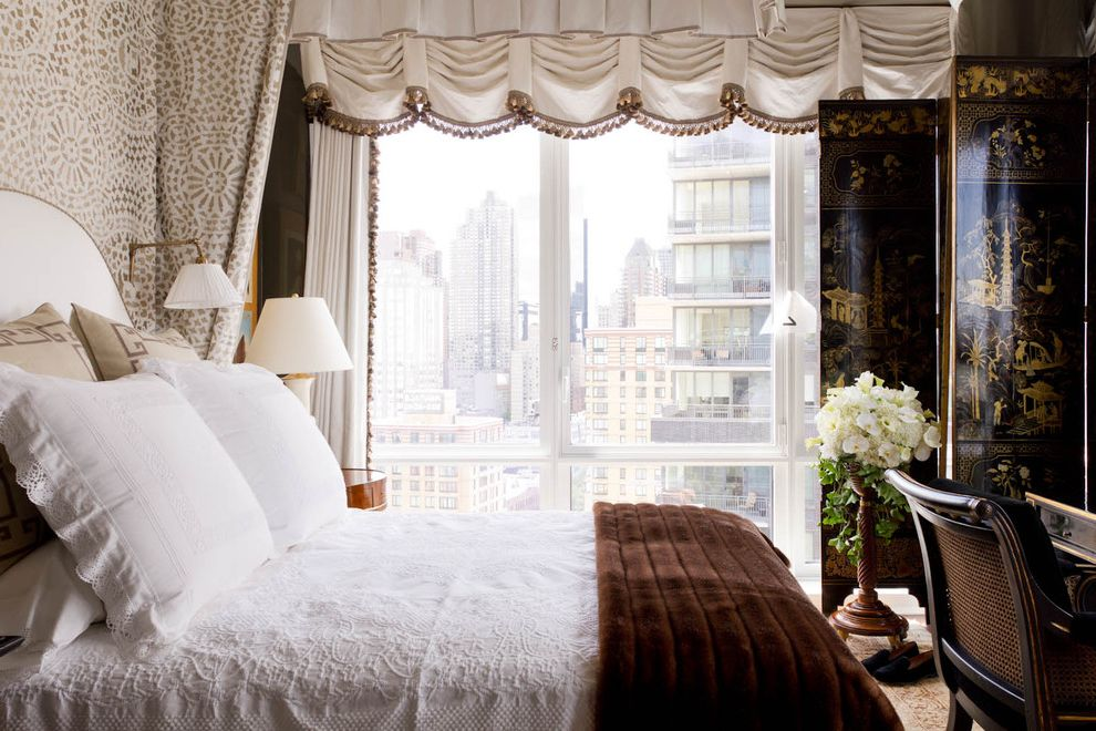Legendary Upholstery   Contemporary Bedroom Also Cane Chair Canopy Bed Casement Windows Chinoiserie Folding Screen Fur Blanket Fur Throw Reading Lamp Swing Arm Lamp Upholstered Headboard White Bedding