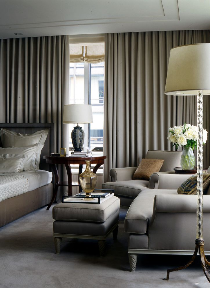 Legendary Upholstery with Traditional Bedroom Also Armchair Bedside Table Curtains Drapes Floor Lamp Floral Arrangement Grey Carpet Neutral Colors Ottoman Table Lamp Upholstered Headboard Vase Window Treatments