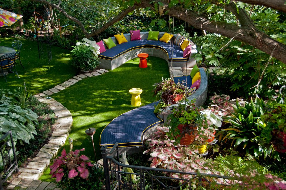 Leisure Time Pools Okc with Eclectic Landscape  and Backyard Built in Seating Colorful Cushions Curved Bench Garden Grass Hanging Plants Lawn Patio Pavers Plants Potted Plants Sitting Area Stepping Stones Stool
