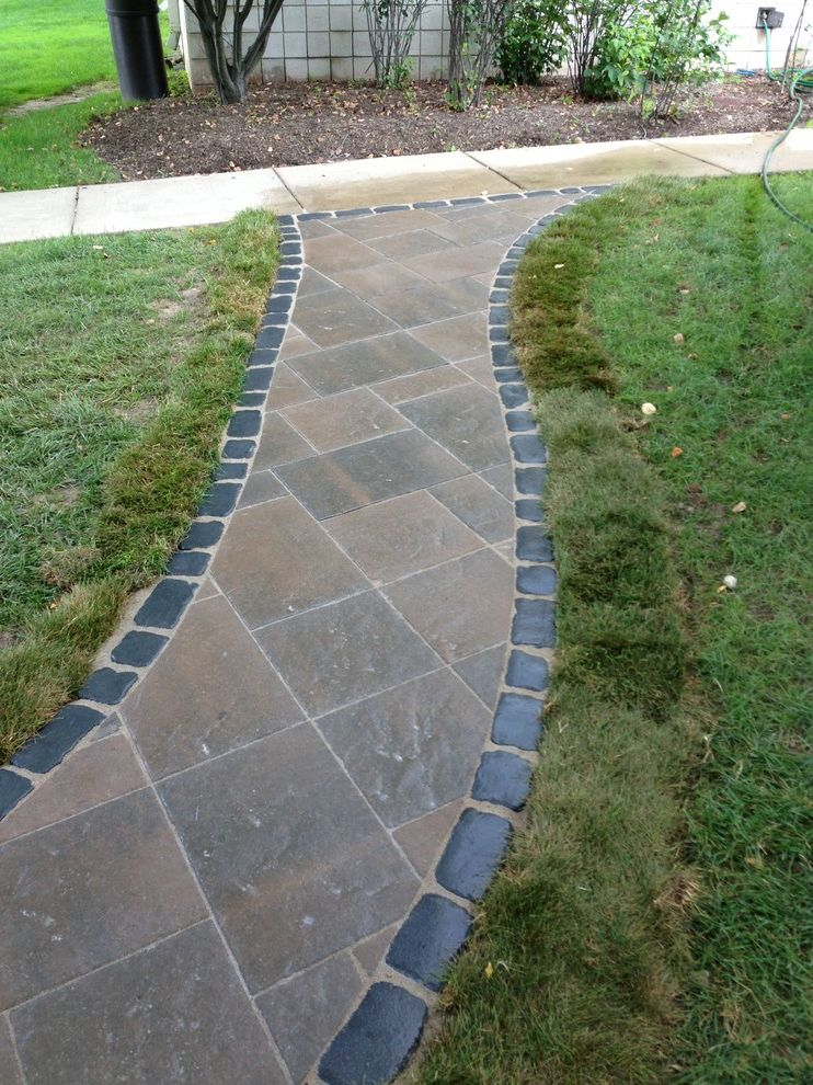 Lexus of Ann Arbor   Modern Landscape  and Beacon Hill Pavers Brick Patio Inlay Design Outdoor Seating Area Pavers Unilock Pavers