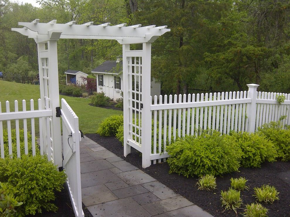 Lexus of Ann Arbor with Traditional Landscape  and Arbor Ball and Chain Bluestone Walk Entranceway Gate Picket Fence