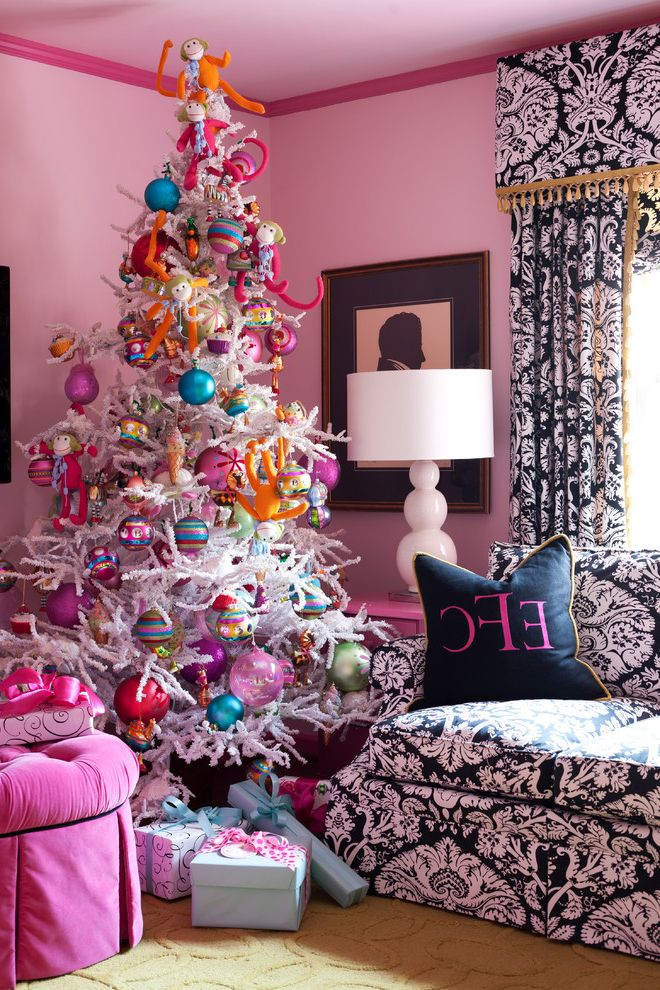 Lifelike Artificial Christmas Trees   Eclectic Living Room  and Beige Rug Bright Colors Curtains Decorative Pillows Holiday Painted Walls Pink Pink Sofa Pink Walls Table Lamp