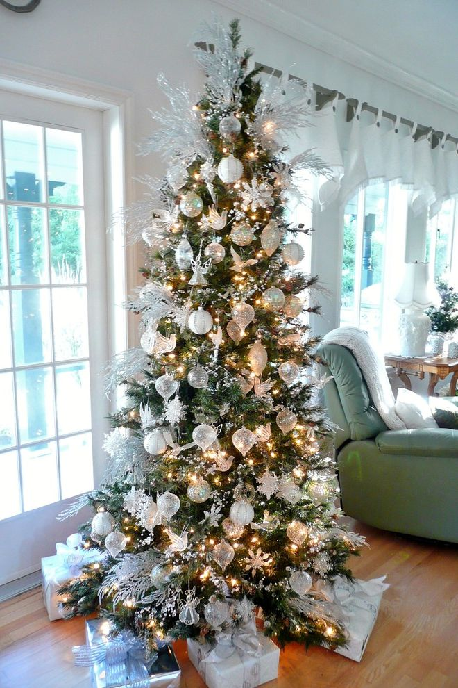 Lifelike Artificial Christmas Trees with Traditional Family Room Also Glass Ornaments Holiday Decor Silver Branches White Christmas Tree