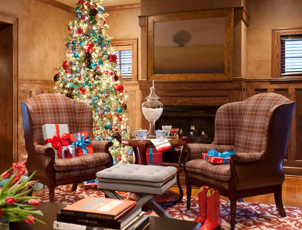 Lifelike Artificial Christmas Trees with Traditional Living Room Also Armchair Decoration Fireplace Holiday Molding Wainscoting Ottoman Stool Warm Wood Molding Wood Trim