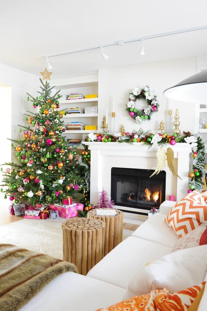 Lifelike Artificial Christmas Trees with Transitional Family Room Also Christmas Tree Greige Walls Holiday Mantle Orange and Yellow Colour Scheme Orange Pillows Striped Drapery White Sofa Wreath