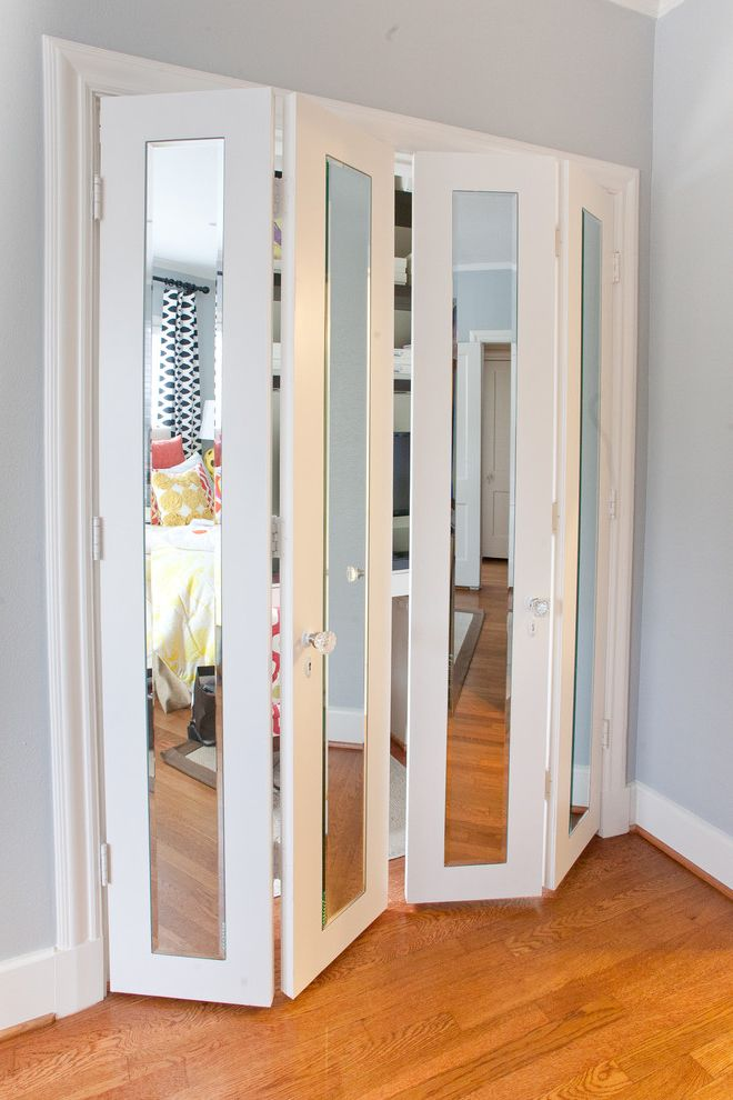 Lifetime Door Company with Contemporary Hall Also Closet Closet Doors Closet Office Desk in Closet Folding Doors Geometric Prints Glass Knobs Gray Mirror Doors Mirror Panels Modern Office White Painted Trim Wood Floor