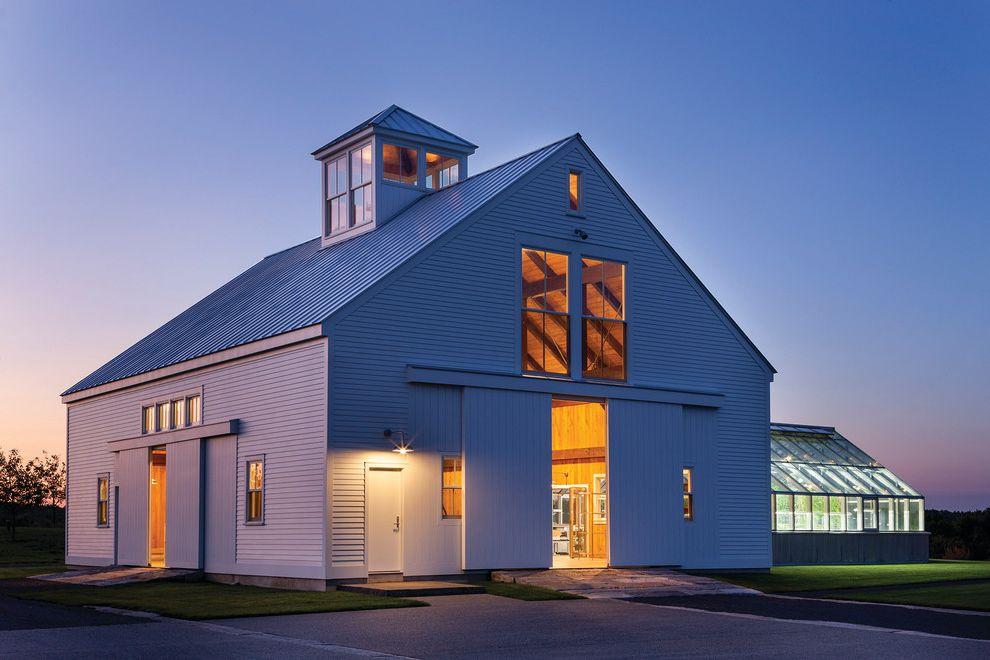 Light Dep Greenhouse   Farmhouse Exterior  and Architects Challenge Architects Challenge Winner Clerestory Windows Greenhouse Night Lighting Outdoor Lighting Sliding Barn Doors Two Story Space