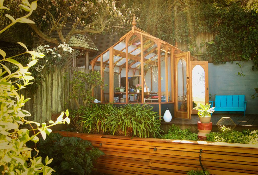 Light Dep Greenhouse with Contemporary Shed  and Backyard Blue Bench Deck Outdoor Furniture Studio Workspace