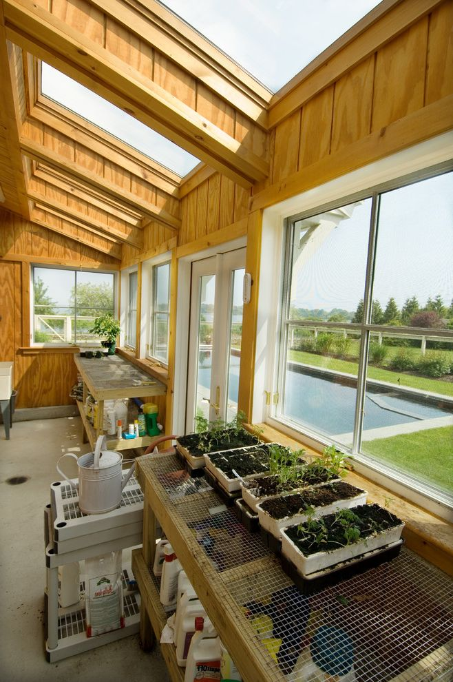 Light Dep Greenhouse with Traditional Shed  and Concrete Floor Conservatory Roof Gardening Shed Greenhouse Roof Plant Starters Potting Shed Seedlings Skylights Watering Can Wood Paneling