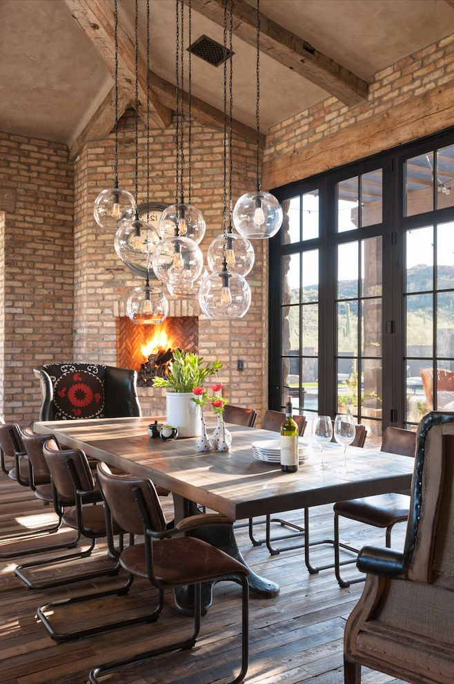 Lighting Sales Llc   Farmhouse Dining Room Also Brick Wall Dining Chairs Dining Table Set Dinnerware Glass Doors Glass Pendant Lights Glassware Hanging Lights Hardwood Table Tall Ceilings Vases