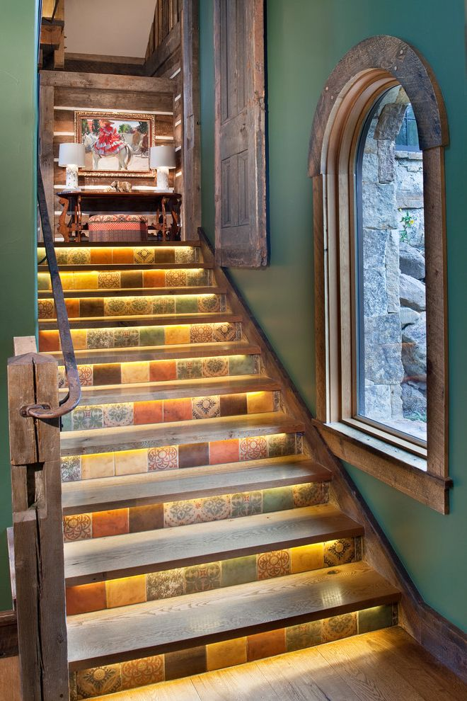 Lighting Sales Llc with Rustic Staircase  and Arched Window Chinking Cove Lights Green Walls Log Home Rough Hewn Rusted Handrail Rustic Stonework Tile Timber Frame Under Stair Lights Wood Floor