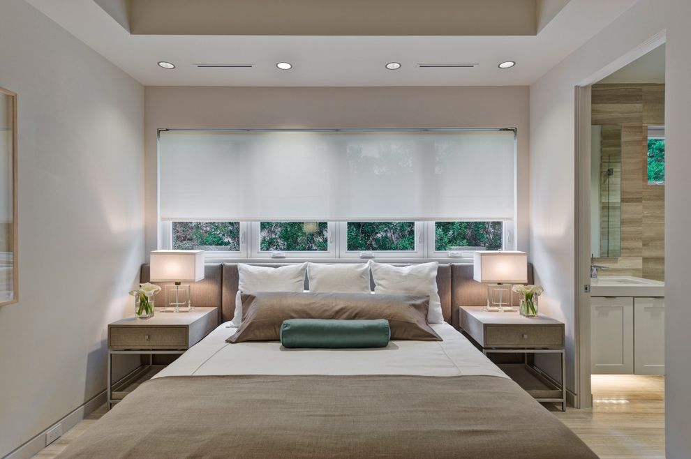 Linen Roller Shades with Contemporary Bedroom  and Bed Pillows Bedside Table Ceiling Lighting Neutral Colors Nightstand Recessed Lighting Symmetry Table Lamp Window Sheers Window Treatments