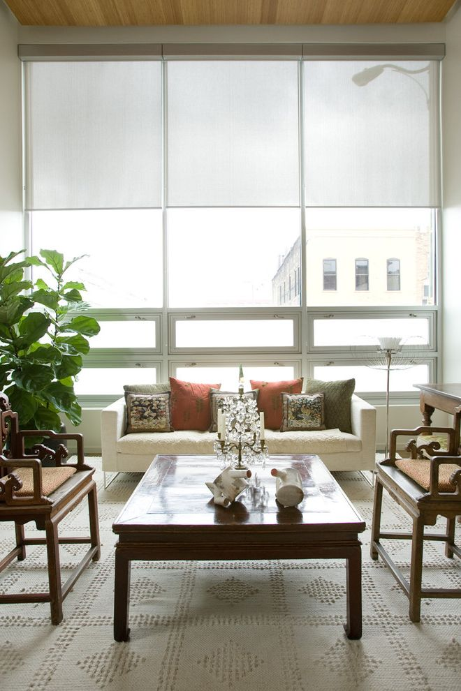 Linen Roller Shades with Contemporary Living Room  and Accent Chairs Area Rug Awning Windows Candelabra Dark Wood Coffee Table Decorative Pillows House Plants Neutral Colors Throw Pillows Window Blinds Window Sheers Window Treatments Woodwork