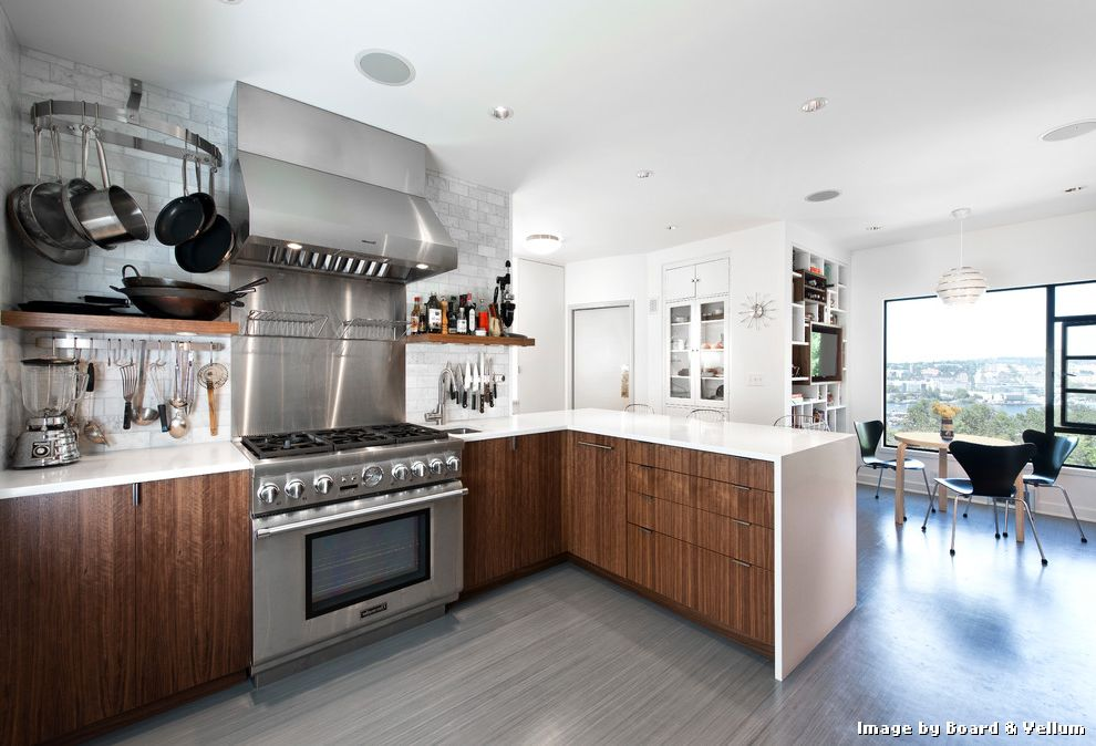 Linoleum Floor Tiles With Contemporary Kitchen And Built In