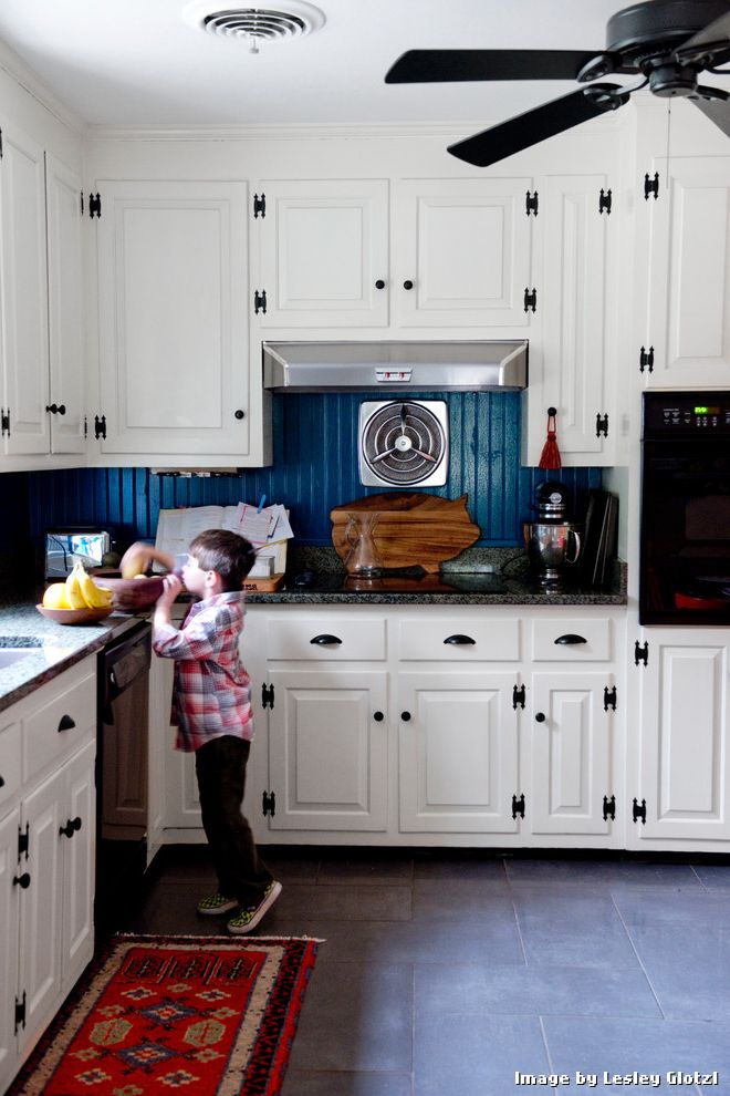 Linoleum Floor Tiles with Eclectic Kitchen and Beadboard Backsplash Black Fan Blue Beadboard Backsplash Ceiling Fan Cup Pulls Gray Tile Herringbone Pattern Kids Oriental Rug Split Level Vintage Hood