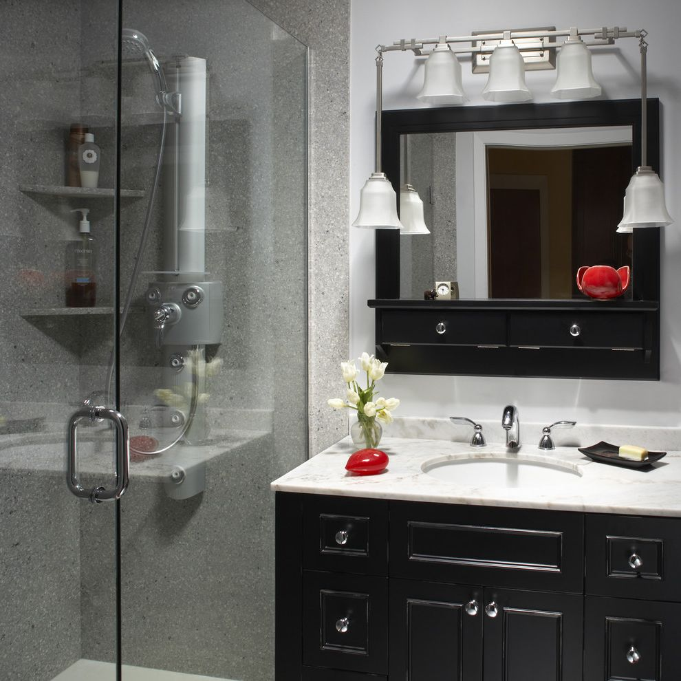 Livingstone Solid Surface   Asian Spaces Also Black and White Black Vanity Faucet Glass Shower Gray Lighting Lighting Fixture Marble Counter Multi Shower Spray Red Accents Round Isnk Shower Shower Shelves Sink Undermount Sink Vanity