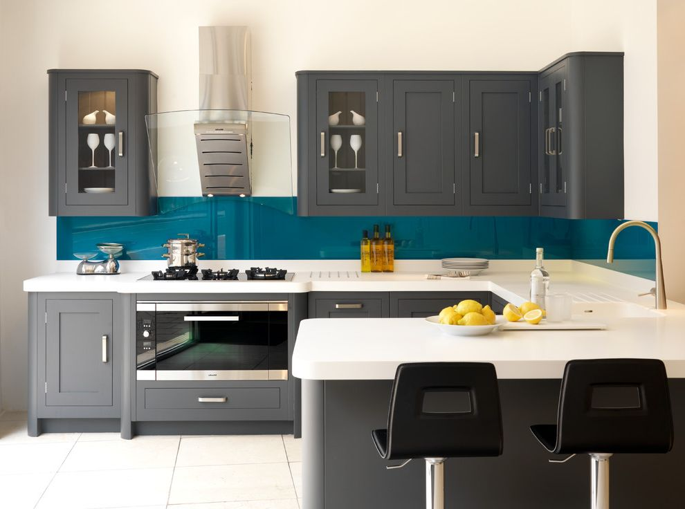 Livingstone Solid Surface with Transitional Kitchen  and Blue Splashback Breakfast Bar Corian Worktop Counter Stools Gray and White Grey and White Kitchen Scales