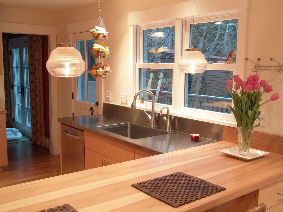 Ll Bean Waterhog Mats with Contemporary Kitchen  and Butcher Block Dishwasher Hanging Fruit Basket Kitchen Door Light Wood Tone Pendant Light Peninsula Sink Stainless Steel Counter White Window Wood Counter