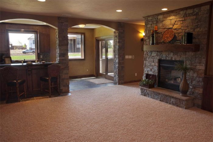Locksmith Wichita Ks   Contemporary Basement Also Arched Basement Bar Double Sided Fireplace Family Family Room Family Friendly Seating Area