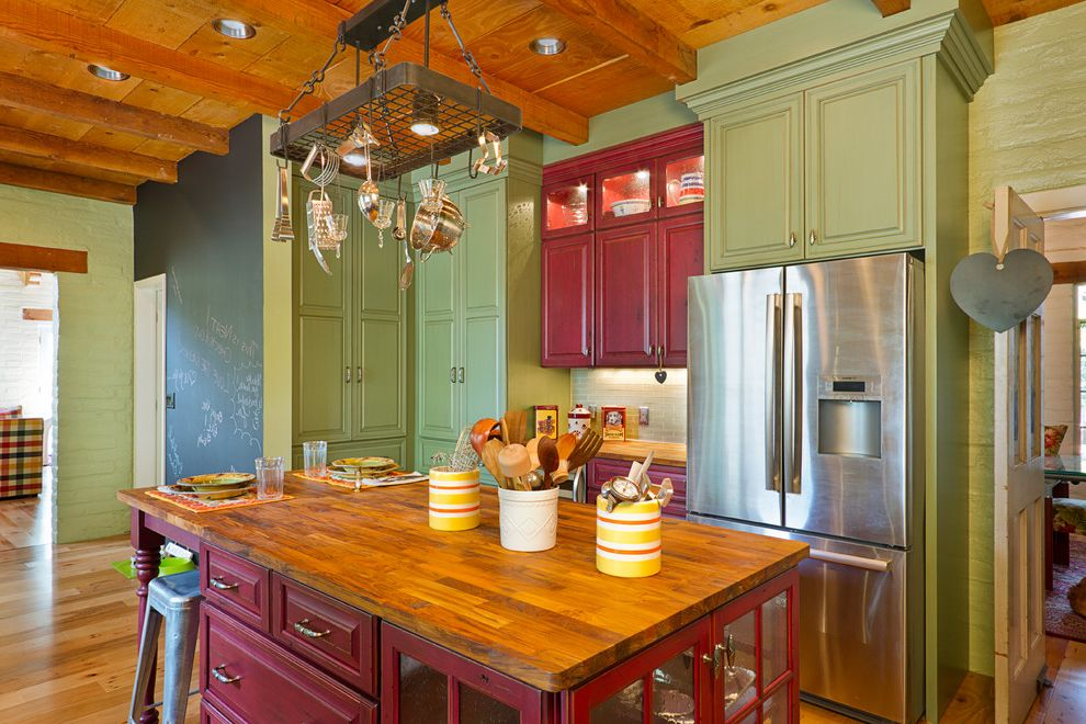 Locksmith Wichita Ks with Traditional Kitchen  and Butcher Block Chalkboard Wall Colors Granite Island Kitchen Mint Green Painted Brick Pot Rack Raised Panel Cabinets Red Storage Wood Beams Wood Ceiling