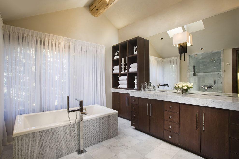 Lockwood Storage   Contemporary Bathroom Also Faucet Freestanding Tub Modern Modern Storage Mosaic Sheers Vanity Vaulted Ceiling Wood Beam
