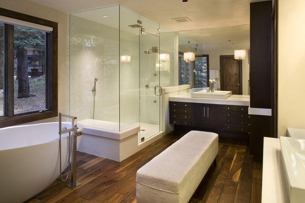 Lockwood Storage   Modern Bathroom  and Bench Bizazza Tile Dark Wood Vanity Egg Shaped Sink Egg Tub Glass Shower Mirror Wall Vanity Wood Floor