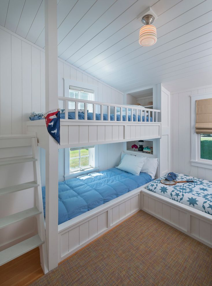 Lockwood Storage with Beach Style Bedroom Also Beach Cottage Blue Bedding Built in Bunks Bunk Beds Ceiling Light Seaside Sloped Ceiling White Ladder White Painted Wood Walls
