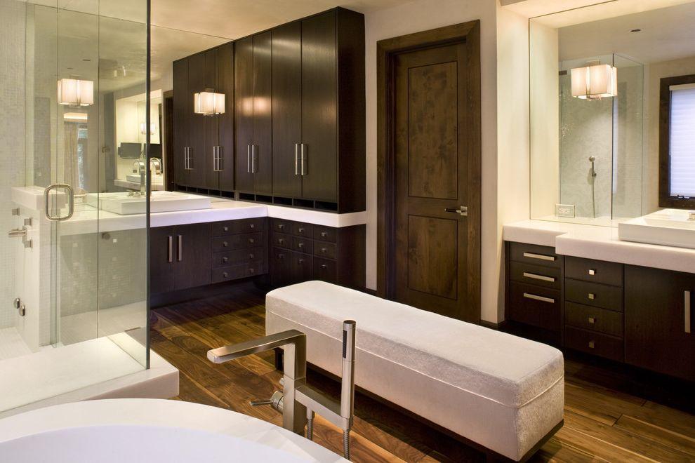 Lockwood Storage with Modern Bathroom  and Dark Wood Egg Tub Modern Ottoman Walnut Floor