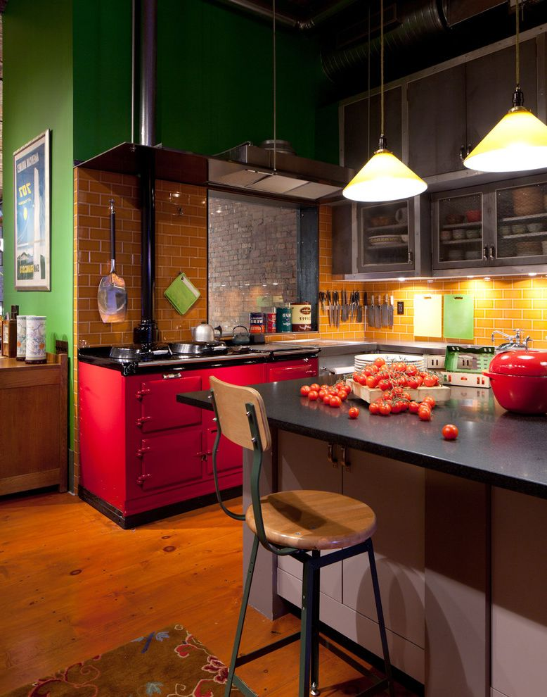 Loft Waco with Industrial Kitchen Also Bar Stools Dark Countertops Green Walls Kitchen Cabinets Kitchen Countertops Kitchen Stools Pendant Lighting Rug Subway Tiles Wood Floors