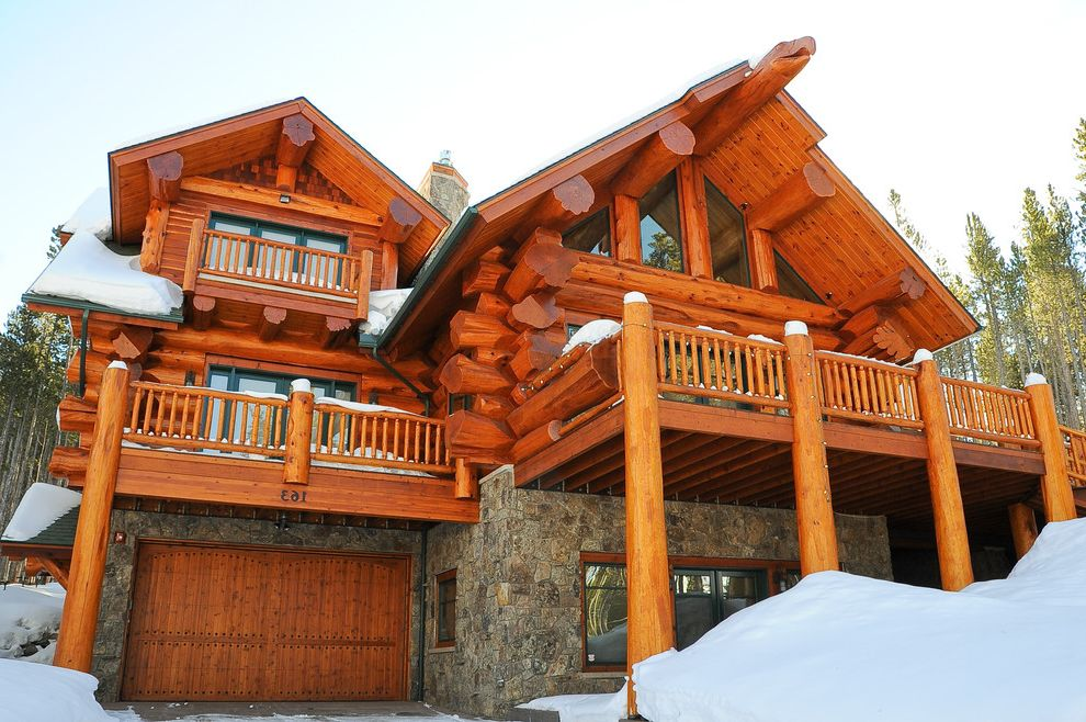 Log Cabin Stain   Rustic Exterior Also Balcony Cabin Entrance Entry House Numbers Lodge Log Cabin Roof Overhang Rustic Snow Stone Wall Winter Wood Ceiling Wood Garage Door