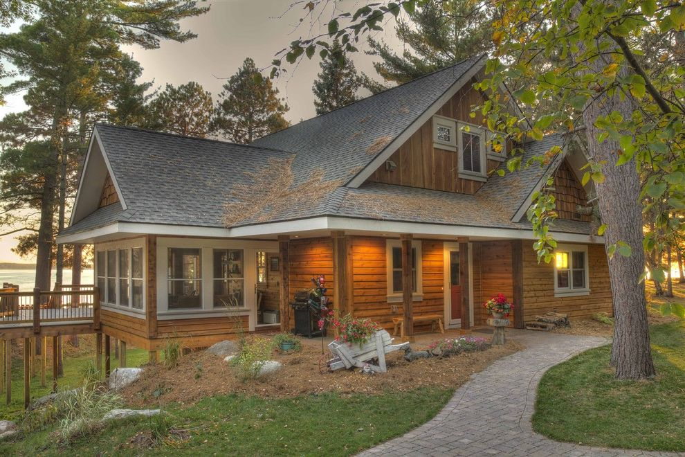 Log Siding for Houses   Rustic Exterior  and Brick Paving Cabin Cottage Deck Entrance Entry Front Porch Grass Lawn Log Cabin Path Rustic Turf Walkway Waterfront Wheelbarrow White Trim