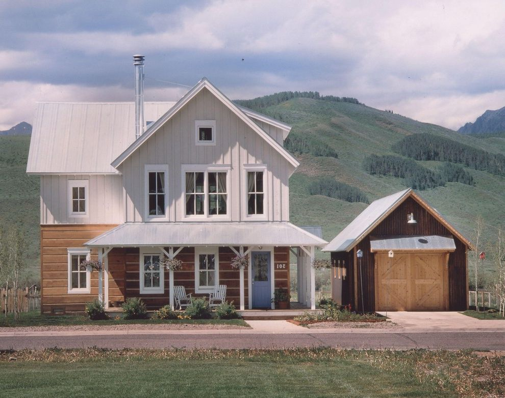 Log Siding for Houses with Farmhouse Exterior Also Blue Door Front Door Front Porch Garage Garage Door Overhang Porch Standing Seem Tin Roof Tin Roof Wood Garage Door