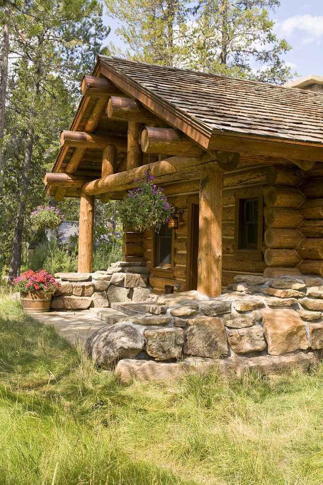 Log Truck Games with Rustic Exterior Also Copper Entry Gable Roof Garden Wall Hanging Plants Log Home Natural Landscape Rustic Shingle Roof Stone Tall Grass Wall
