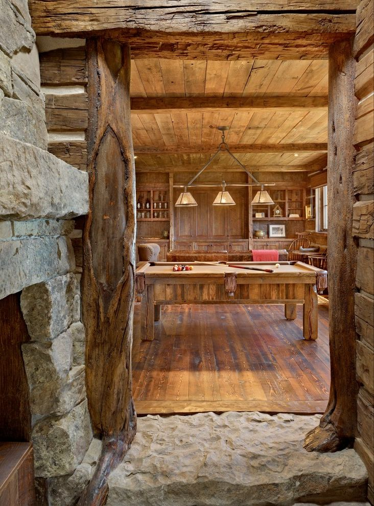 Log Truck Games with Rustic Family Room Also Exposed Beams Game Room Log Accents Medium Wood Paneled Walls Pool Table Light Rustic Rustic Log Posts Rustic Pool Table Rustic Wood Floor Wood Floors Wood Ceiling