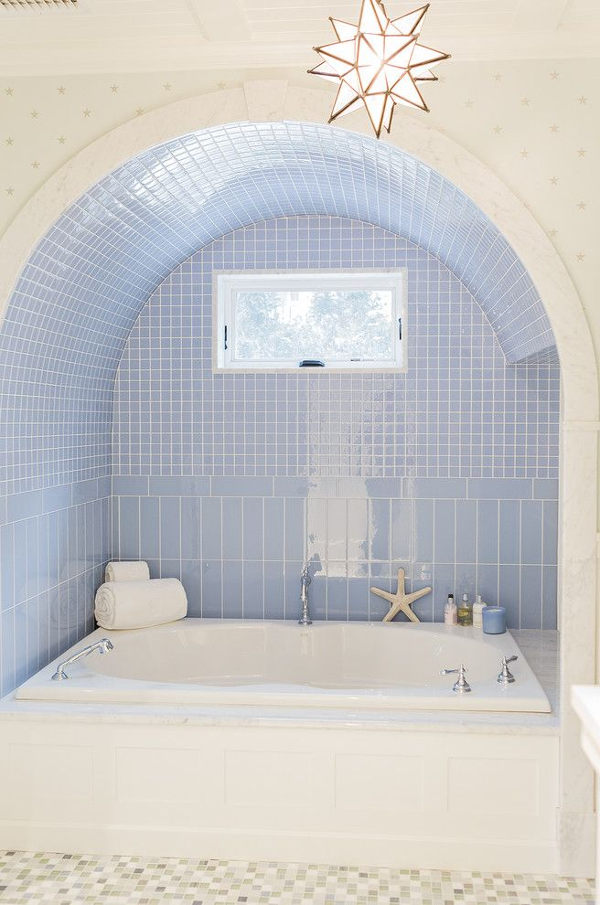 Lone Star Auctions   Beach Style Bathroom Also Arch Light Blue Niche Spa Like Star Pendant Window