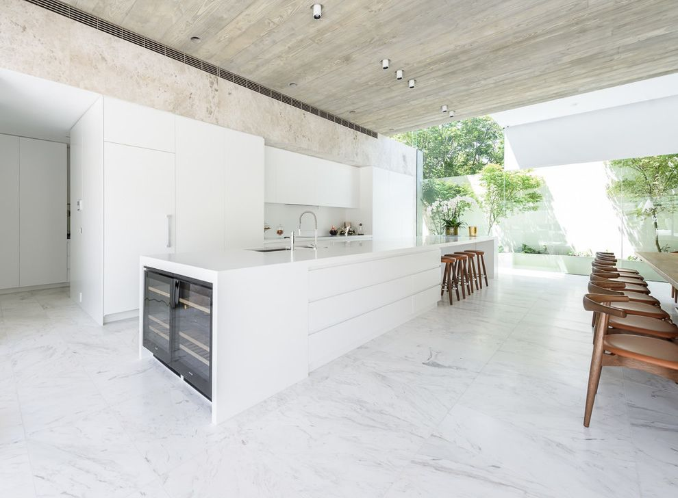 Long Island Paneling with Contemporary Kitchen  and Beverage Fridge Corian Glass Wall Industrial Kitchen Faucet Light Wood Ceiling Long Island Panel Refrigerator Waterfall Edge White Kitchen Wine Fridge