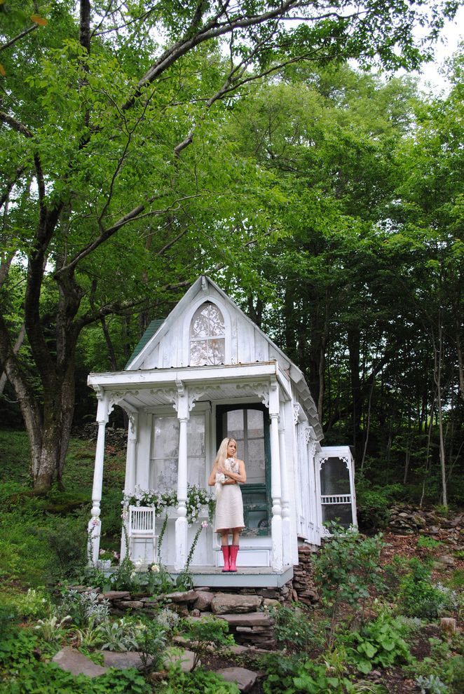 Love is Patient Love is Kind Bible Verse   Shabby Chic Style Shed Also Cabin Cottage Distressed Entrance Entry Front Door Hillside Outbuilding Porch Rustic Shabby Chic Slope Stacked Stone Studio Window Boxes