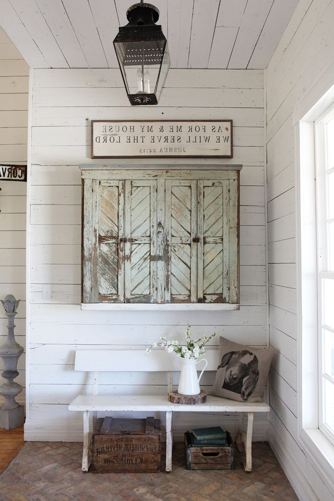 Love is Patient Love is Kind Bible Verse with Farmhouse Entry Also Bench Cabinet Lantern Wall Art White Paneling Window