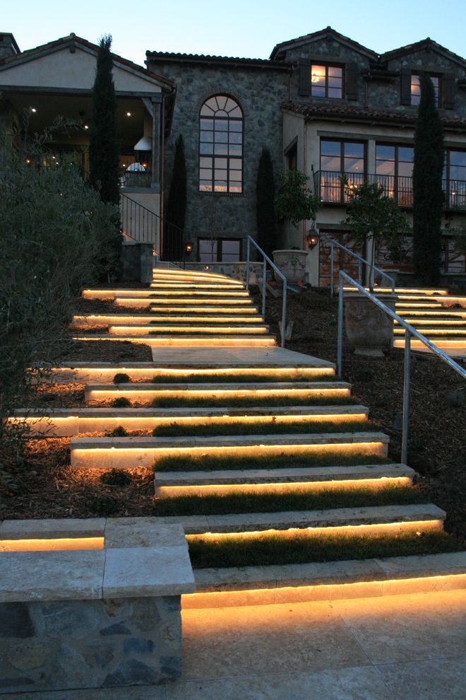 Low Voltage Deck Post Lights   Mediterranean Landscape Also Exterior Stone Limestone Natural Stone Outdoor Lighting Step Lights Steps Walkway Wallstone