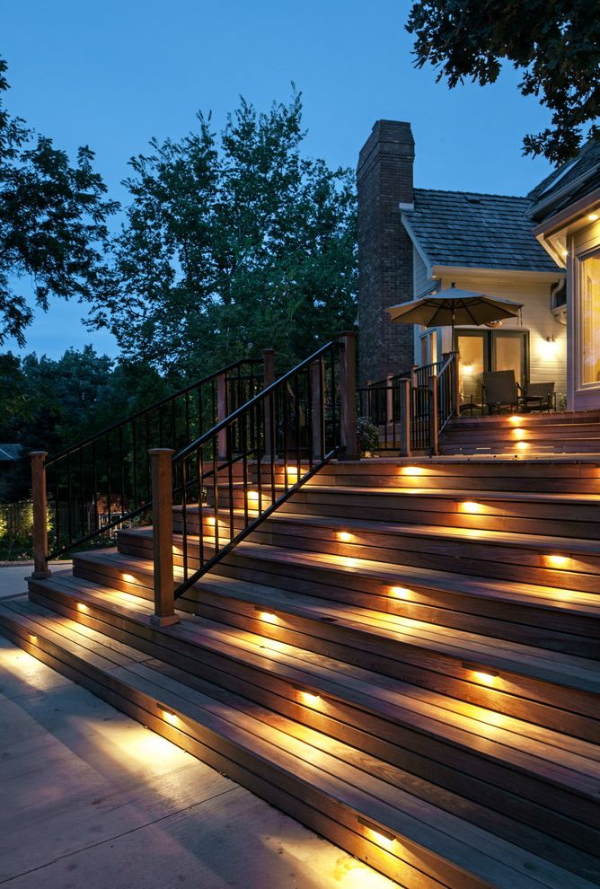 Low Voltage Deck Post Lights with Traditional Deck  and Deck Lighting Outdoor Lighting Safety Lighting Step Lighting