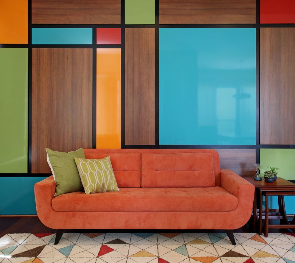 Lowes Aliso Viejo with Midcentury Living Room Also Bold Bright Colors Colorful Danish Modern Geometric Green Throw Pillows Mid Century Midcentury Modern Multi Colored Rug Orange Orange Sofa Turquoise Wall Panels Wall Treatment