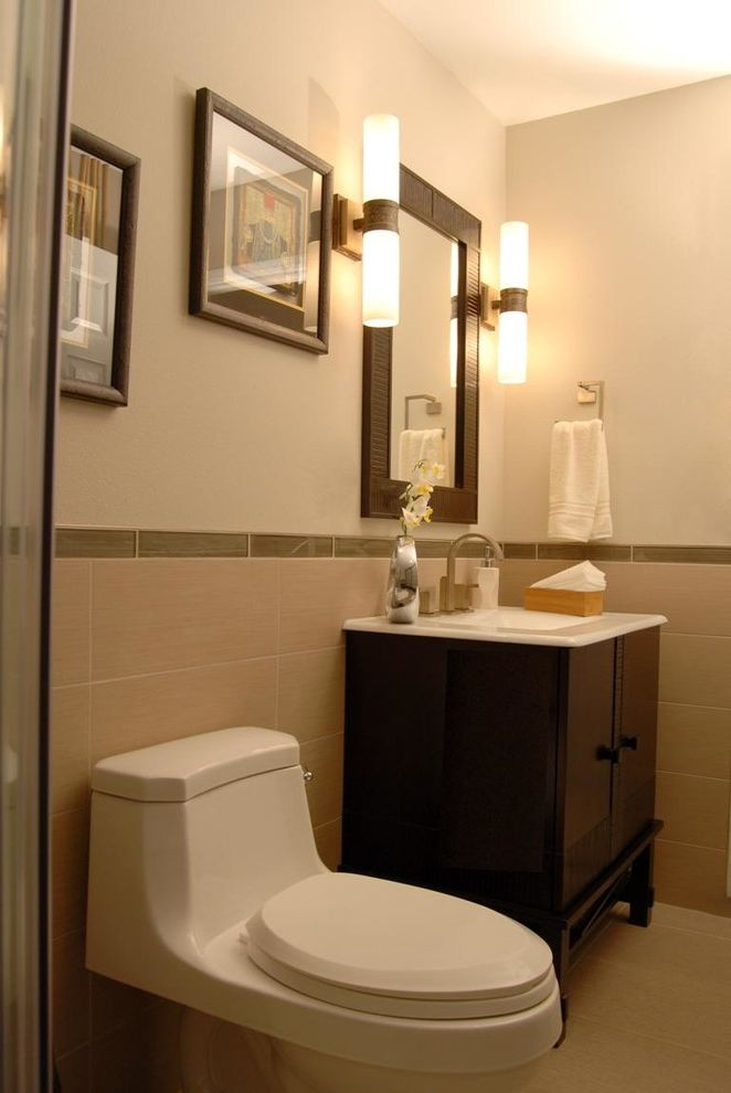 Lowes Anchorage   Asian Bathroom Also Framed Mirror Low Profile Toilet Tank Side Sconces Tile Wainscoting