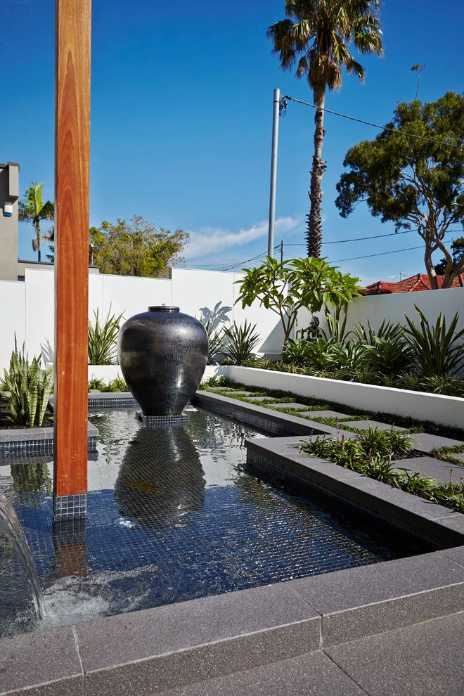 Lowes Anchorage   Contemporary Landscape Also Black Mosaic Tile Black Tile Bushes Palm Tree Pathway Planters Pond Shrubs Urn Urn Water Feature Walkway Water Feature Water Fountain White Partition White Wall