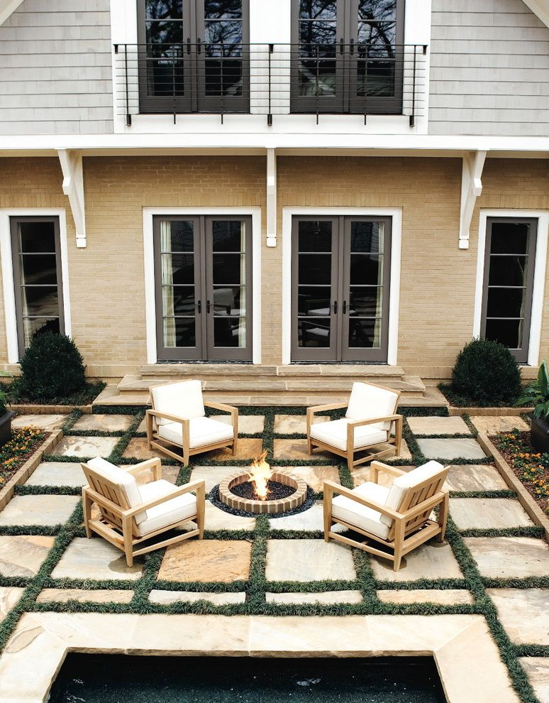 Lowes Appleton Wi   Traditional Patio Also Beige Brick Siding Black Railing Fire Pit Firepit Glass Door Gray Doors Gray Siding Outdoor Furniture Planters Vertical Windows White Cushions White Trim