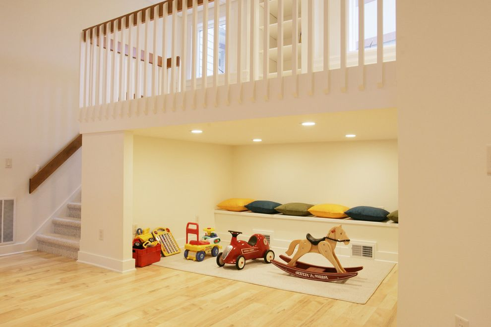 Lowes Appleton Wi   Transitional Kids  and Beige Area Rug Bright Basement Built in Bench Clerestory Window Low Ceiling Maple Floors Play Area Play Nook Recessed Lighting