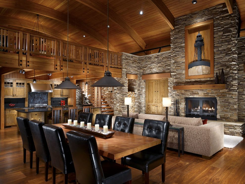 Modern Cabin Stone Accent Wall And Wood Ceiling $style In $location