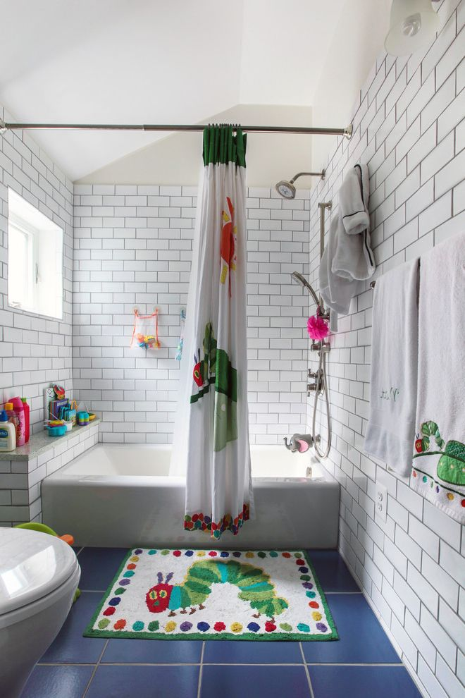 Lowes Apron with Traditional Bathroom and Blue Tile Floor Catterpillar Bathmat Cross Ventilation Green Home Choice Natural Light Shower Curtain Subway Tile Vaulted Ceilings