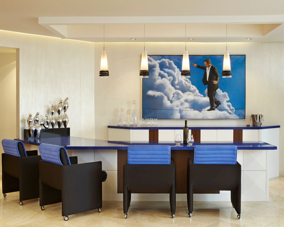 Lowes Arnold Mo   Contemporary Home Bar Also Art Bar Blue Blue and Black Chair Blue Chair Blue Countertop Brown Built in Ceiling Coffer Custom Home Bar Miami Pendant Light Pendants Periwinkle White